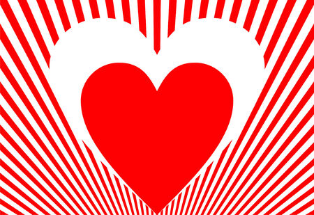 Red and white heart on red and white striped background