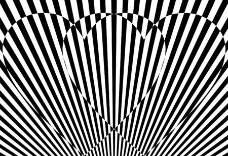 Black and white striped hearts, valentine