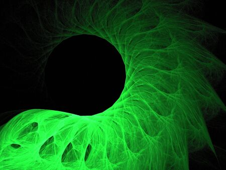 fluent: Green on black fractal image, fluent feathered curve