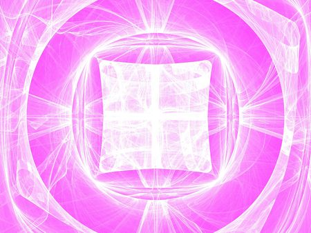 White circles and curves, fractal image on pink