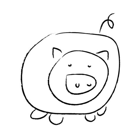 pig tails: Simple drawing of a pig, image, black and white
