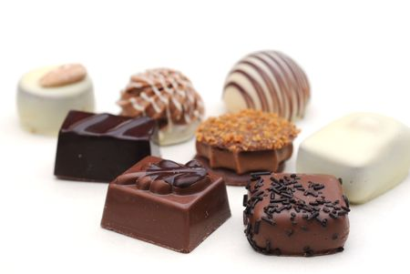 belgian: Belgian chocolates on white, shallow depth of field