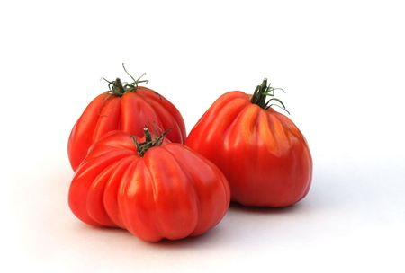 Oxheart tomatoes on white