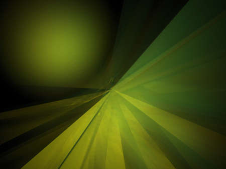 Fractal image of fake green planet with radiant beams