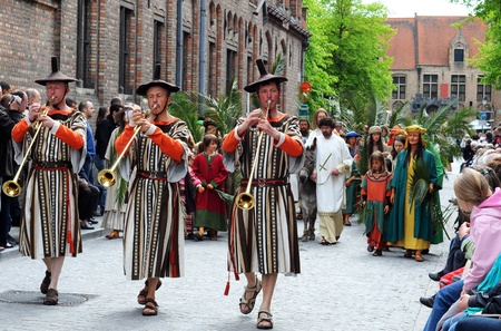 BRUGES (BRUGGE), BELGIUM - MAY 13: Procession of the Holy Blood. Annual religious procession going back to 1303, attracting 30.000 visitors this year. May 13, 2010 in Bruges (Brugge), Belgium.