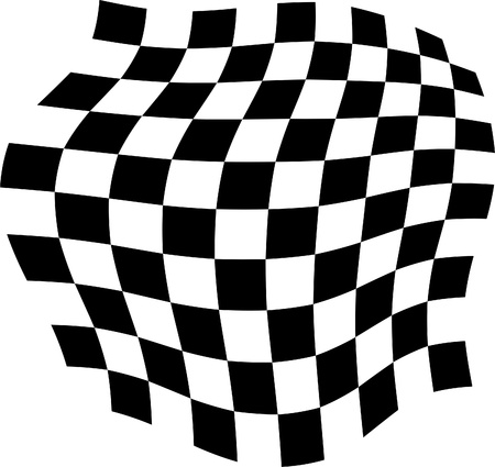 Black and white tiles, distorted, image