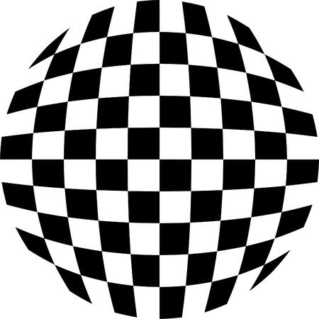 Black and white tiles, rounded Illustration