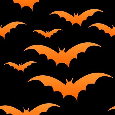 Orange bats on black, seamless tile, halloween.
