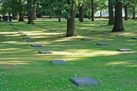 ypres: German cemetery for fallen soldiers in World War I in Langemarck, Flanders, Belgium, Europe