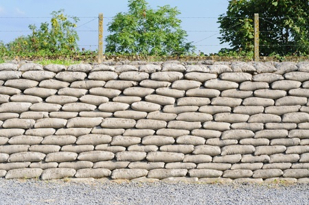 Trench from World War I, relic, fossilized sandbags, Diksmuide, Flanders, background Stock Photo