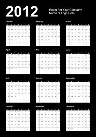 Calendar 2012, black and white