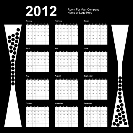 Calendar 2012, black and white, sunday first,  Vector