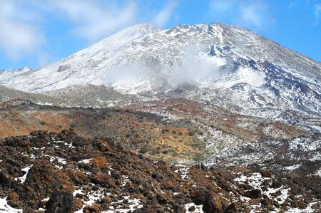 Volcano Pico del Teide in winter, El Teide National Park, Tenerife, Canary Islands, Spain