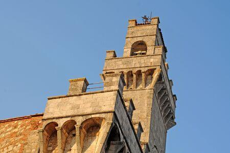 Brick tower in Montepulciano, Tuscany, Italy Stock Photo