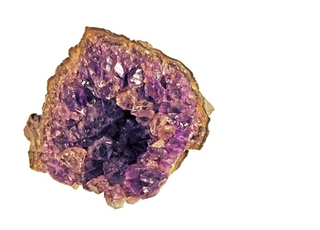 piece of amethyst, semiprecious stone, isolated on white Stock Photo