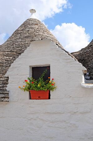 Trulli conical roof and gable with flowers in Alberobello, Italy photo