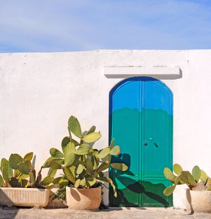 Blue and green door in white wall with blooming cactus in Ostuni, Italy Stock Photo