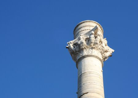 roman pillar: Pillar marking the end of the old roman road Via Appia from Rome in Brindisi, Italy, Puglia