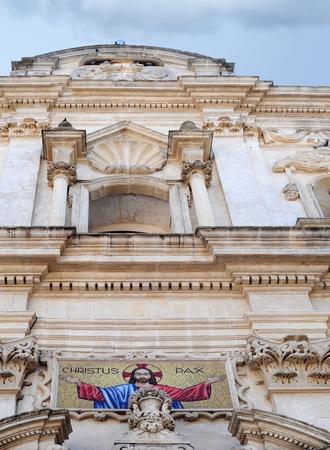 christus: Detail of church in Monteneri, Puglia, Italy, Christus Pax