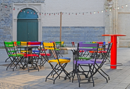 closing time: Attractive, colorful outdoor or sidewalk cafe in closing time