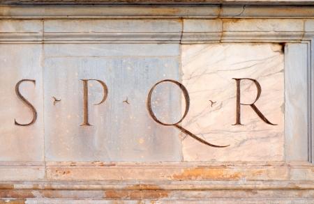 Senatus PopulusQue Romanus, the senate and the people of rome, in short spqr, the acronym for rome Stock Photo