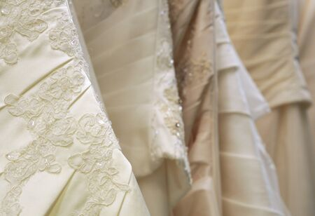 bridal gowns or wedding dresses in different shades