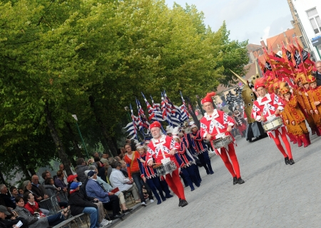 BRUGES (BRUGGE), BELGIUM - AUGUST 26: The pageant of the Golden Tree. Parade based on historical data (1468). Five-yearly event, 50.000 visitors this year. August 26, 2012 in Bruges (Brugge), Belgium