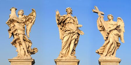 angels with column, nails and cross on ponte sant angelo or bridge of hadrian in rome, italy, europe photo