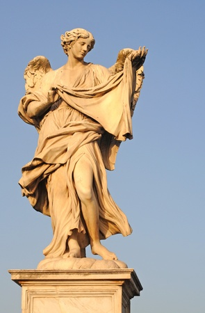 angel with the sudarium on ponte sant angelo of bridge of hadrian in rome, italy, europe