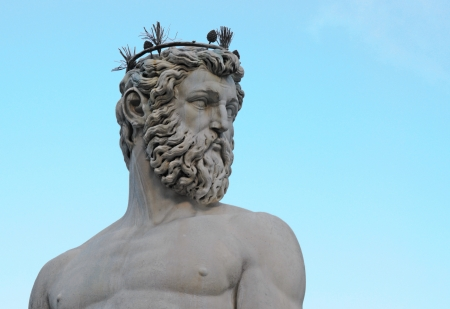 mannerism: head and torso of statue of neptune on piazza della signoria in firenze or florence, italy, europe