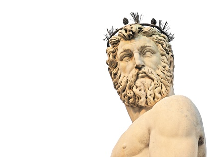 mannerism: head and torso of statue of neptune on piazza della signoria in firenze or florence, italy, europe, isolated on white