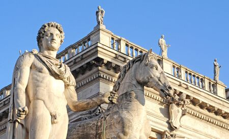 fragment of the piazza at capitoline hill, rome, europe, italy