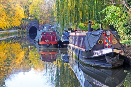 city canal in fall with houseboats and trees, islington, london photo