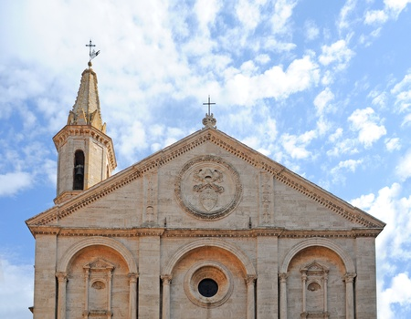 renaissance gable and tower of cathedral in pienza, italy, europe Stock Photo
