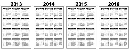 illustration of a basic overview calendar 2013-2014-2015-2016, vector image, black and white, week starting on monday Illustration
