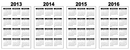programme: ilustraci�n de un calendario b�sico panorama 2013-2014-2015-2016, imagen vectorial, blanco y negro, la semana que comienza el lunes