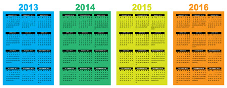 illustration of a basic overview calendar 2013-2014-2015-2016, vector image, week starting on monday Vector