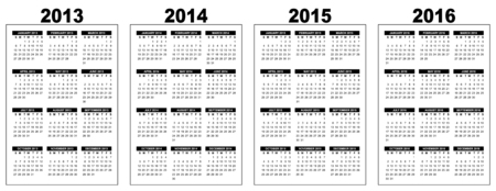 illustration of a basic overview calendar 2013-2014-2015-2016, vector image, black and white, week starting on sunday