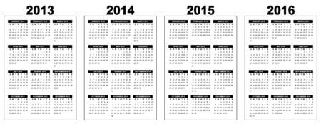 programme: ilustraci�n de un calendario b�sico panorama 2013-2014-2015-2016, imagen vectorial, blanco y negro, la semana que comienza el Domingo