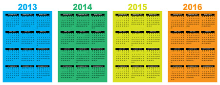 illustration of a basic overview calendar 2013-2014-2015-2016, vector image, week starting on sunday Vector
