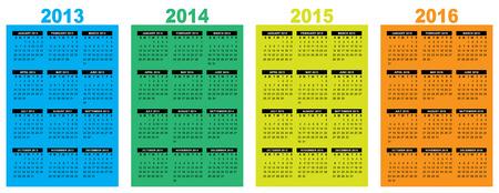 illustration of a basic overview calendar 2013-2014-2015-2016, vector image, week starting on sunday Illustration