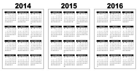 illustration of a basic overview calendar 2014-2015-2016, vector image, black and white, week starting on monday Illustration