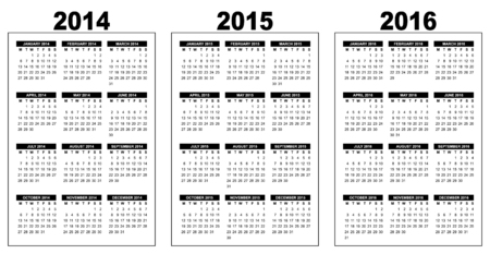 programme: ilustraci�n de un calendario b�sico panorama 2014-2015-2016, imagen vectorial, blanco y negro, la semana que comienza el lunes