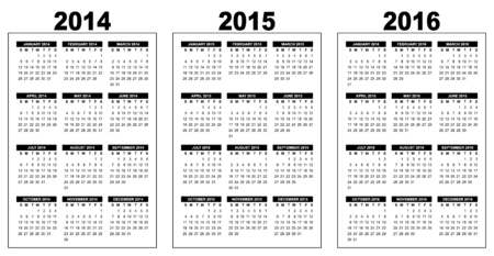 illustration of a basic overview calendar 2014-2015-2016, vector image, black and white, week starting on sunday