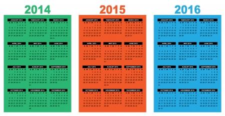 programme: ilustraci�n de una imagen vectorial calendario descripci�n b�sica 2014-2015-2016, la semana que empieza el domingo