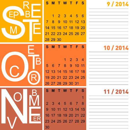 jazzy: jazzy seasonal calendar autumn 2014 including september, october, november, vector