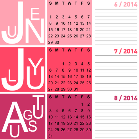 jazzy: jazzy seasonal calendar summer 2014 including june, july and august, vector Illustration