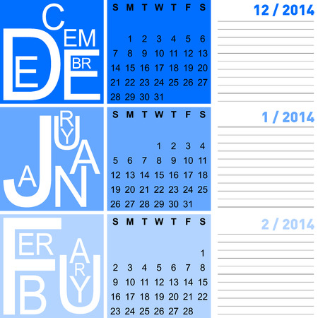 jazzy seasonal calendar winter 2014 including december, january and february, vector Stock Vector - 24504370