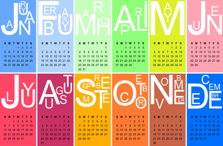 jazzy: Colorful jazzy 2014 calendar, vector Illustration