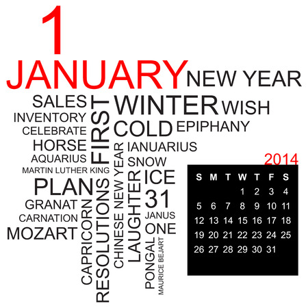 sports programme: word cloud with twentysomething facts and figures about january 2014, including calendar of the month, vector Illustration